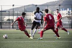 Четвертьфиналы чашки утеса Гибралтара - футбол - пункт Европы Европы 2-0 Стоковые Изображения
