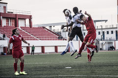 Четвертьфиналы чашки утеса Гибралтара - футбол - пункт Европы Европы 2-0 Стоковые Фото