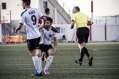 Четвертьфиналы чашки утеса Гибралтара - футбол - пункт Европы Европы 2-0 Стоковое Изображение