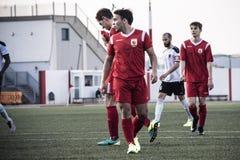 Четвертьфиналы чашки утеса Гибралтара - футбол - пункт Европы Европы 2-0 Стоковые Изображения RF