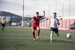 Четвертьфиналы чашки утеса Гибралтара - футбол - пункт Европы Европы 2-0 Стоковое фото RF