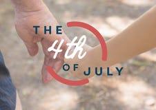 Четверть графика в июле против конца вверх отца и сына держа руки Стоковые Фотографии RF