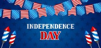 Четверть знамени Дня независимости в июле Американская патриотическая иллюстрация Стоковая Фотография