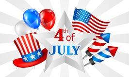 Четверть знамени Дня независимости в июле Американская патриотическая иллюстрация Стоковое Изображение RF