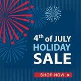 Четверть знамени продажи в июле, вектор Стоковое Изображение