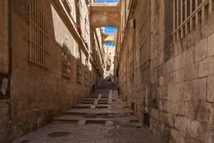 четверть Иерусалима переулка стародедовская еврейская стоковые изображения