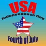 Четверть плаката в июле День независимости США Четверть карточки в июле с флагом США Годный к употреблению для поздравительных от Стоковая Фотография