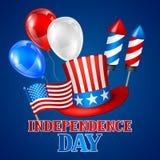Четверть поздравительной открытки Дня независимости в июле Американская патриотическая иллюстрация Стоковые Фотографии RF
