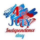 Четверть поздравительной открытки Дня независимости в июле Американская патриотическая иллюстрация Стоковые Фото