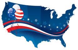 Четверть США -го карты в июле иллюстрация вектора