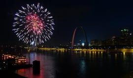 Четверть фейерверков Сент-Луис в июле Стоковое Изображение