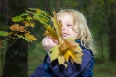 Четырехклассная девушка играя с листьями осени Стоковые Фото