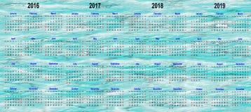 Четырехклассные шаблоны календаря - 2016, 2017, 2018 и 2019 стоковые фото