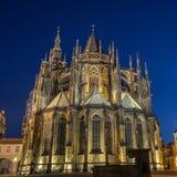 Чехия, замок Праги, Праги St Vit фотографии ночи Стоковая Фотография RF