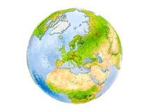 Чехия на изолированном глобусе Стоковые Фото