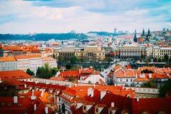 Чехия, панорама города Праги Взгляд Праги города панорамный Стоковые Изображения RF