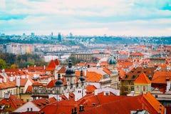 Чехия, панорама города Праги Взгляд Праги города панорамный Стоковое Фото