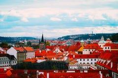 Чехия, панорама города Праги Взгляд Праги города панорамный Стоковая Фотография RF