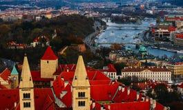 Чехия, панорама города Праги Взгляд Праги города панорамный Стоковое фото RF