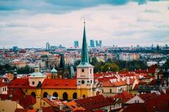 Чехия, панорама города Праги Взгляд Праги города панорамный Стоковая Фотография