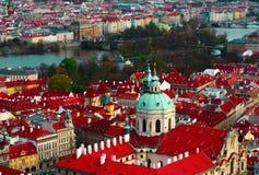 Чехия, панорама города Праги Взгляд Праги города панорамный Стоковые Изображения