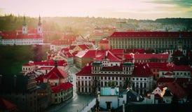 Чехия, панорама города Праги Взгляд Праги города панорамный Стоковые Фото