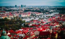 Чехия, панорама города Праги Взгляд Праги города панорамный Стоковые Фотографии RF