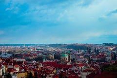 Чехия, панорама города Праги Взгляд Праги города панорамный Стоковое Изображение RF