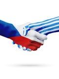Чехия флагов, страны Греции, концепция рукопожатия приятельства партнерства Стоковые Фото