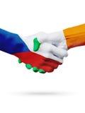 Чехия флагов, страны Ирландии, концепция рукопожатия приятельства партнерства Стоковое Изображение RF