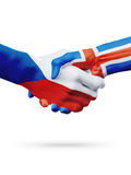 Чехия флагов, страны Исландии, концепция рукопожатия приятельства партнерства Стоковые Фотографии RF