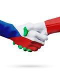 Чехия флагов, страны Италии, концепция рукопожатия приятельства партнерства Стоковые Фотографии RF