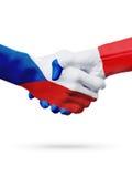Чехия флагов, страны Франции, концепция рукопожатия приятельства партнерства Стоковые Фотографии RF