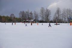 чехословакская зима Skilift в горах Стоковое фото RF