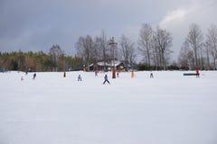 чехословакская зима Skilift в горах Стоковые Изображения RF