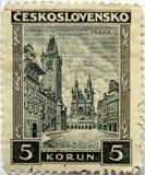 чехословакские штемпеля prague Стоковое Изображение