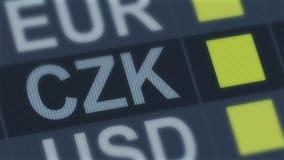 Чехословакский поднимать koruna, понижаясь Валютный рынок мира Тариф валюты изменяя бесплатная иллюстрация