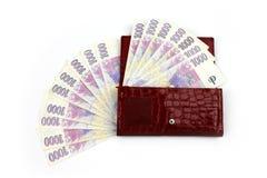 Чехословакские деньги в красном бумажнике - тысяче Стоковая Фотография