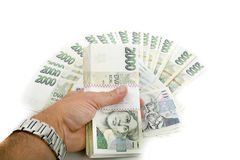 Чехословакские кроны номинальной стоимости одного и две тысячи банкнот Стоковые Фотографии RF