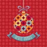 Чехословакский язык Vesele Vanoce рождество 3d изолировало сообщение мегафона над белизной марионетки Стоковая Фотография