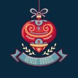 Чехословакский язык Vesele Vanoce рождество 3d изолировало сообщение мегафона над белизной марионетки Стоковые Фотографии RF