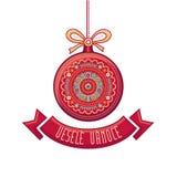 Чехословакский язык Vesele Vanoce рождество 3d изолировало сообщение мегафона над белизной марионетки Стоковое Изображение RF
