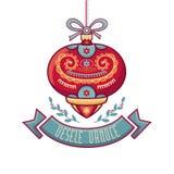 Чехословакский язык Vesele Vanoce рождество 3d изолировало сообщение мегафона над белизной марионетки Стоковое Фото