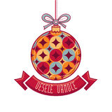 Чехословакский язык Vesele Vanoce рождество 3d изолировало сообщение мегафона над белизной марионетки Стоковое фото RF