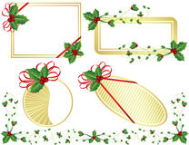 чешет whi рождества золотистым изолированное падубом Иллюстрация вектора