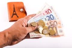 Человек дает деньги евро Стоковые Фото