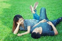 Человек Азии и женщины, концепция влюбленности Стоковые Фото