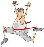 Человек бежать за финишной чертой Стоковая Фотография