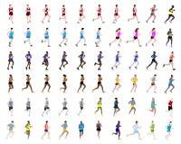60 человек бежать иллюстрации Стоковые Фото