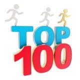 Человек бежать символические диаграммы над словами покрывает 100 Стоковые Фотографии RF